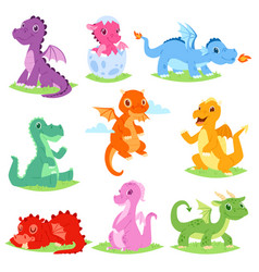 cartoon dragon cute dragonfly or baby vector image