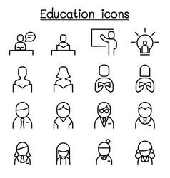 education learning icon set in thin line style vector image vector image