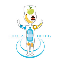 healthy listyle to diet plan vector image
