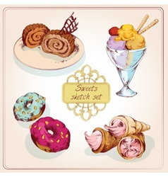 Sweets sketch colored set vector image vector image