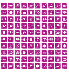 100 agriculture icons set grunge pink vector