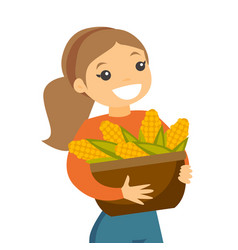 a white happy woman with a basket of corncobs vector image