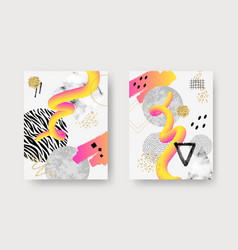 Abstract contemporary art posters with marble vector