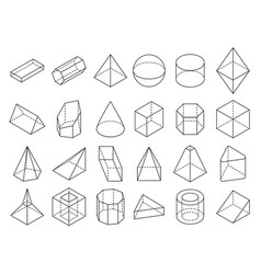 abstract isometric 3d geometric outline shapes vector image