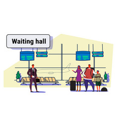 airport passengers at waiting hall departure vector image