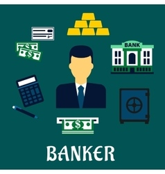 Banker profession concept with financial icons vector