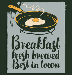 Banner with fried egg on frying pan in retro style vector