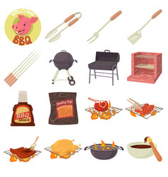 Barbecue tools icons set cartoon style vector