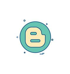 Blogger media network social icon design vector