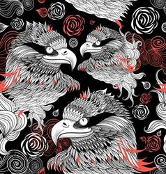 Bright graphic pattern eagles head on a black back vector image