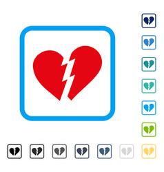 Broken heart framed icon vector