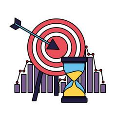 Business target hourglass chart financial vector