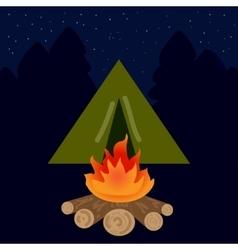 camp campfire at night vector image