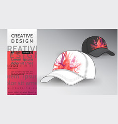 cap mock up heart design art vector image