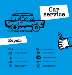 car service concept web banner with scene vector image