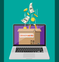 cardboard box and money on laptop screen vector image