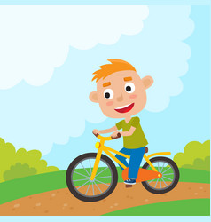 Cartoon boy riding a bike having fun riding vector