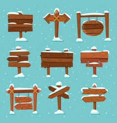 cartoon snowed signpost christmas wooden signpost vector image