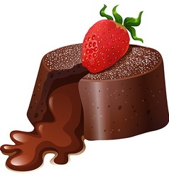 Chocolate lavacake with fresh strawberry vector image