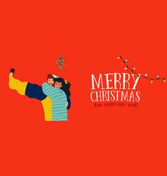 Christmas banner of couple selfie under mistletoe vector