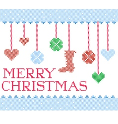 christmas cross stitch vector image vector image