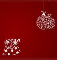 Christmas red composition from silhouettes vector