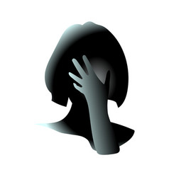 close-up of her hand covered female face girl vector image