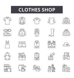 clothes shop line icons signs set vector image