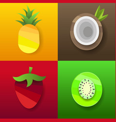 coconut strawberry pineapple kiwi tropical vector image