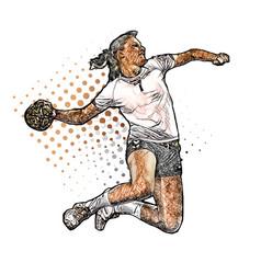 Colored woman handball player vector