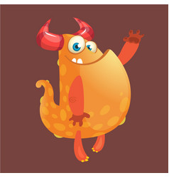 cute orange fat cartoon monster blob vector image