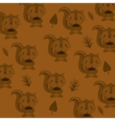 Cute squirrel head pattern background image vector