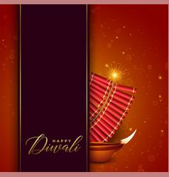 diwali festival design with cracker and diya vector image