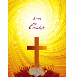 easter cross and eggs on abstract background vector image