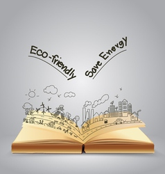 Ecology friendly creative concept drawing on book vector