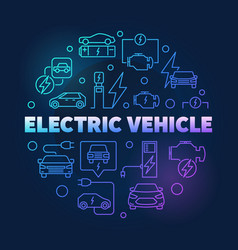 Electric vehicle round bright vector
