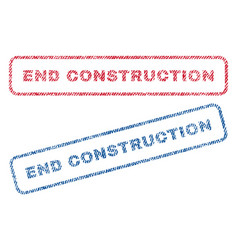 End construction textile stamps vector