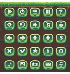 Feed fox gui match 3 set green buttons vector