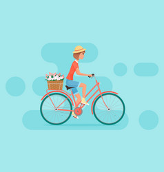 female character design riding bicycle vector image