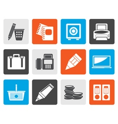 Flat Business Office and Finance Icons vector image vector image