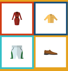 Flat icon garment set of male footware banyan vector