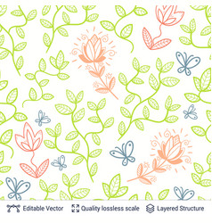 flowers and leaves seamless pattern vector image