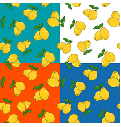 Four seamless pattern with quince vector