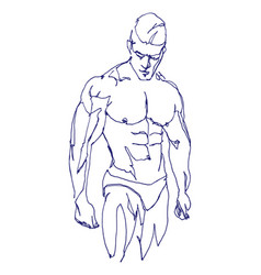 free hand drawing a muscled man vector image