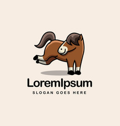 fun playful pony horse cartoon mascot logo vector image