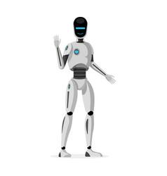 Futuristic humanoid robot flat vector