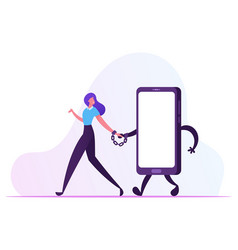 Gadget and networking addiction concept young vector