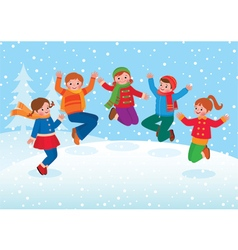 Group of kids playing in the winter outdoors vector