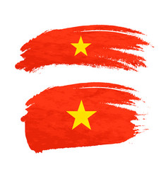 grunge brush stroke with vietnam national flag on vector image