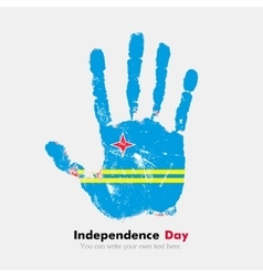 Handprint with the Flag of Aruba in grunge style vector